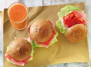 Denny Chef Blog: Panino farcito con crudo e verdure con frullato di melone, sedano e carote