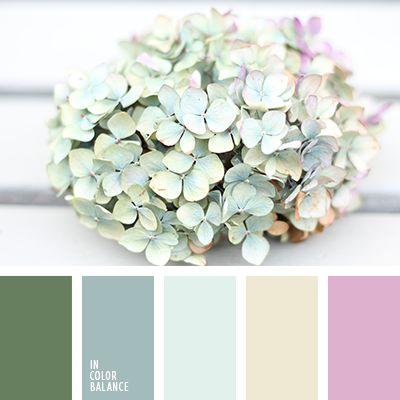 """""""пыльный"""" зеленый, бледно-розовый, желтый, зеленый, оттенки голубого, подбор цвета, розовый, светло-голубой, серо-голубой, цвет гортензии, цвет зелени, цвет песка, цветовое решение."""