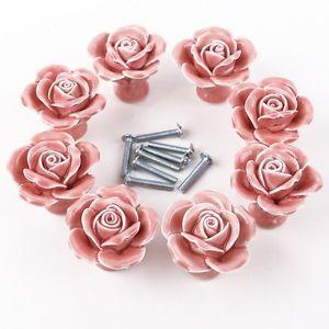 PORTA-interna-Manopole-Ragazza-Maniglie-Per-Armadi-8-Rose-rosa-in-ceramica-vintage