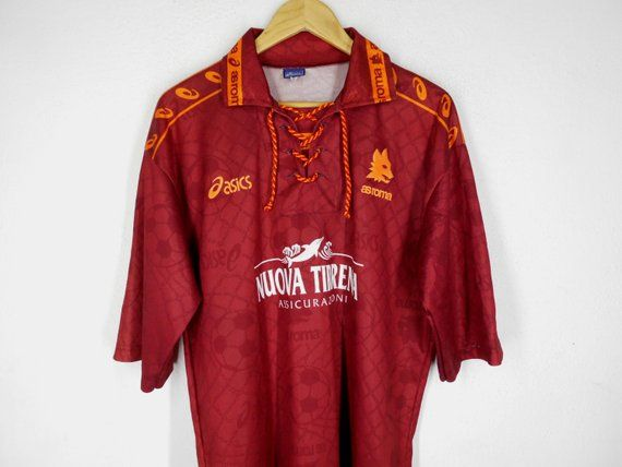 dada9bb14 Roma Shirt Roma Jersey Vintage 1994-1995 A.S. Roma Asics Home Fooball Shirt  Roma Vintage Soccer Jersey Made in Italy Size XL