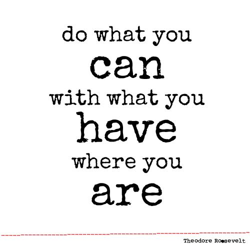 Do what you can, with what you have, where you are! - Theodore Rooselvelt
