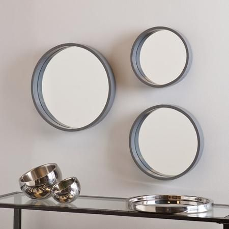 Holly And Martin Daws Wall Mirror 3 Piece Set Cool Grey