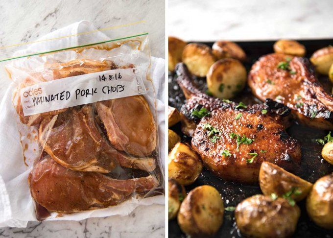 Oven Baked Pork Chops - Slathered in a tasty rub made with pantry ingredients, then baked to perfection. Add some potatoes and veggies for a one sheet pan meal! www.recipetineats.com