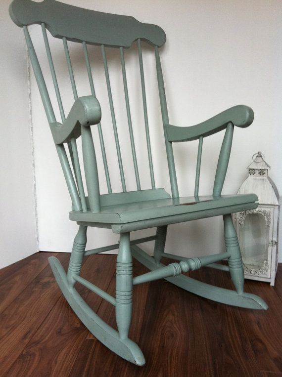 Vintage Painted Duck Egg Blue Rocking Chair par LittleVintageHome, $200,00