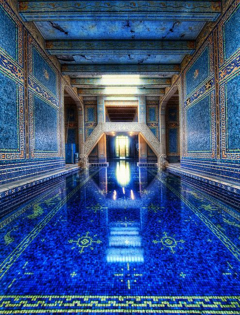 This is the stunning azure blue pool in Hearst Castle, Monterey, California, USA