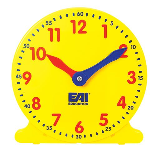 """EAI® Education Student Classroom Clock - Set of 6  Teach your students to tell time with our durable, easy-to-read clocks! Turn the control knob in the back, or the minute hand in the front, and watch the realistic movement of its geared hands. Includes a built in stand for table top use. These student clocks measure 4¼"""" in height. Set of 6."""