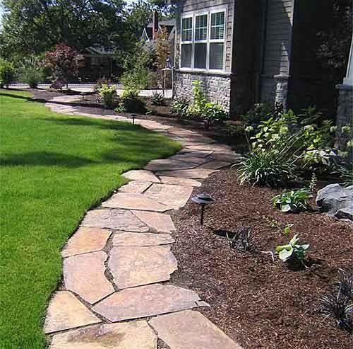 Flagstone Borders   This Would Be A Mower Friendly Border Too