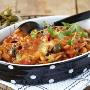 Oppskrift på gratinert ratatouille og pasta
