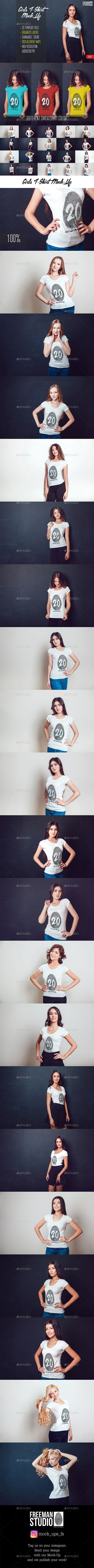20 Top Girls T-Shirt Mock-Up