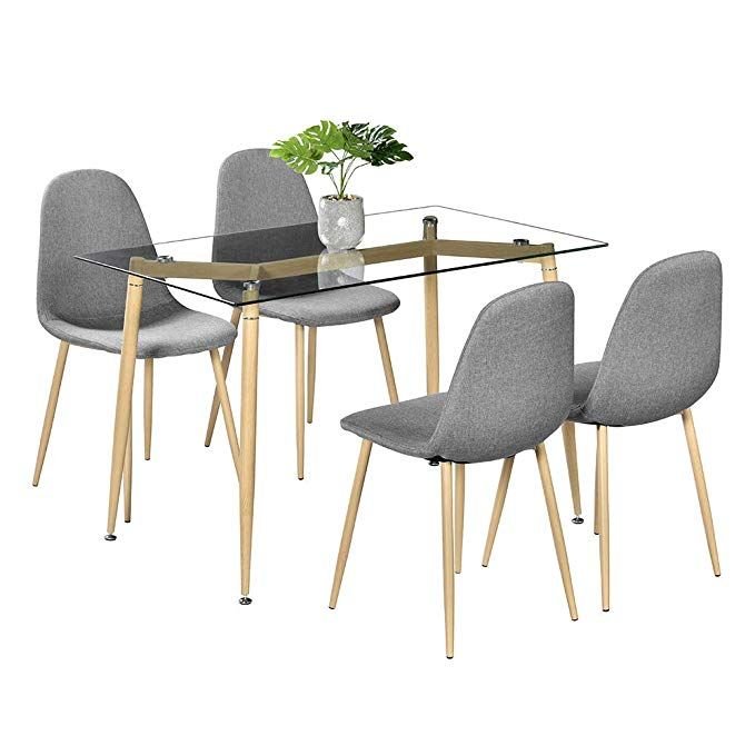 78e25806115ac Amazon.com - Bonnlo 5 Pieces Dining Set Modern Dining Table Set for 4  Persons Kitchen Dining Table with 4 PU Leather Chairs Dining Room Table with  Tempered ...