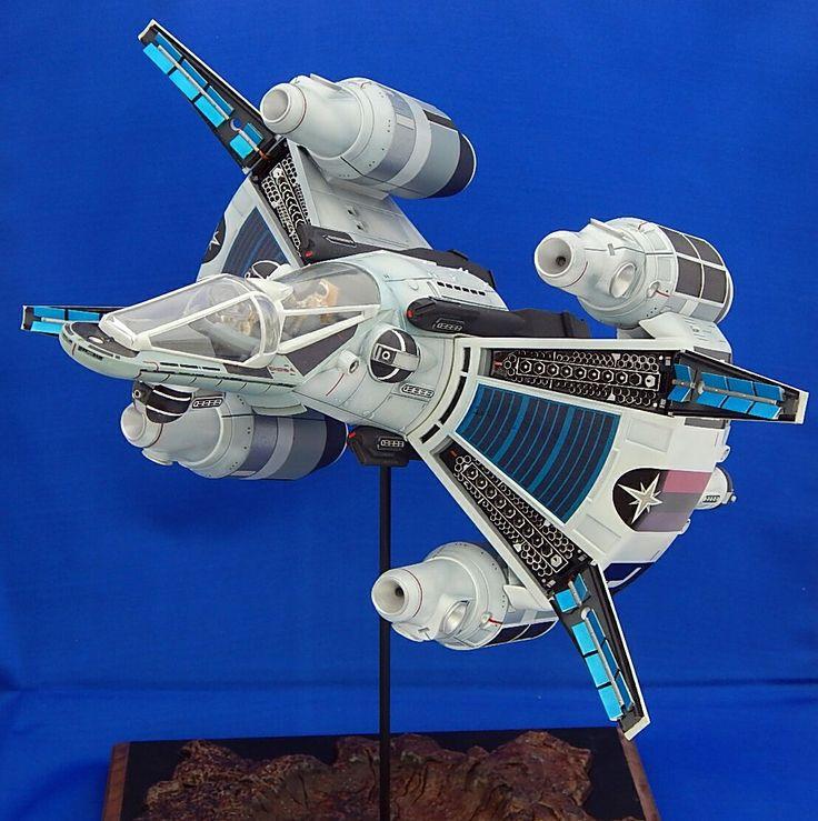 Duncan Scott's 1/72 Gunstar built from the Black Sun kit.  See more pictures at http://kitbash.net/scifi/Gunstar/Gunstarfinal/index.html  Find the kit at http://www.starshipmodeler.biz