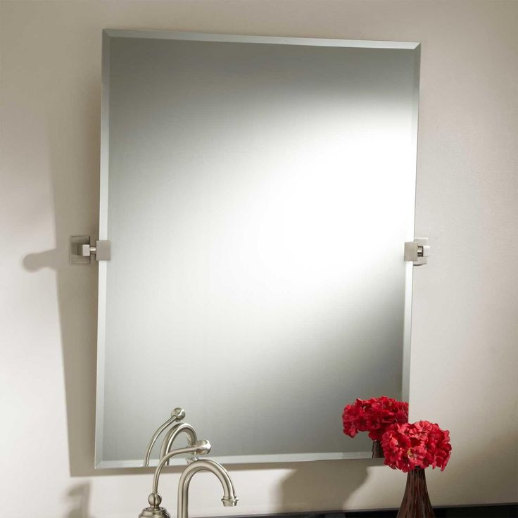 How To Hang Bathroom Mirror: Bathroom : Large Square Mirror With Stainless Metal Handle