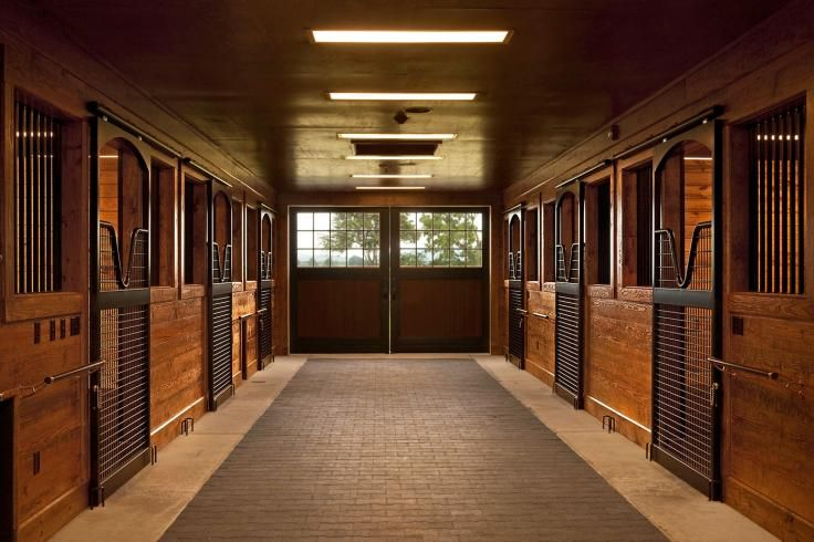 Such natural beauty in this barn aisle! Horse stalls by Lucas Equine. Barn by Thorsen Construction