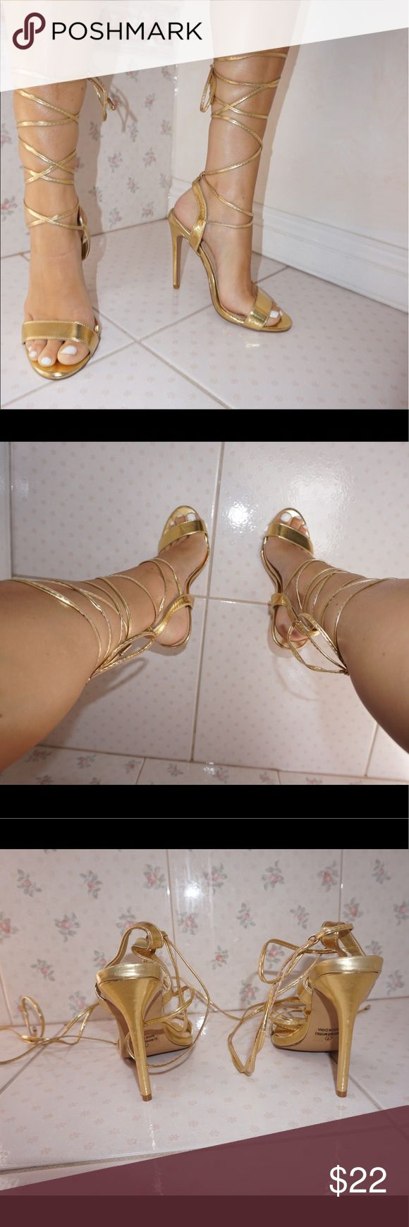 Gold Strap Up Heels ✨ Gold strap up sandal heels. Worn only once. In very good condition. Comfortable to wear. Fits true to size ! 4.5 inch heel ! Liliana Shoes Heels