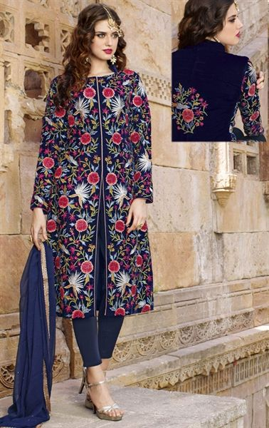 Picture of Artistic Navy Blue Designer Salwar Kameez