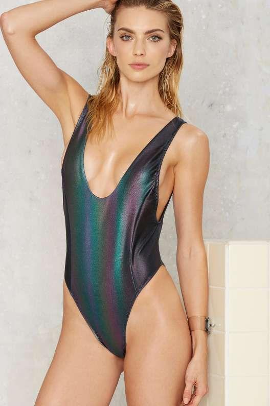 Nasty Gal Skye Oil Slick Hologram Swimsuit Thanks It S