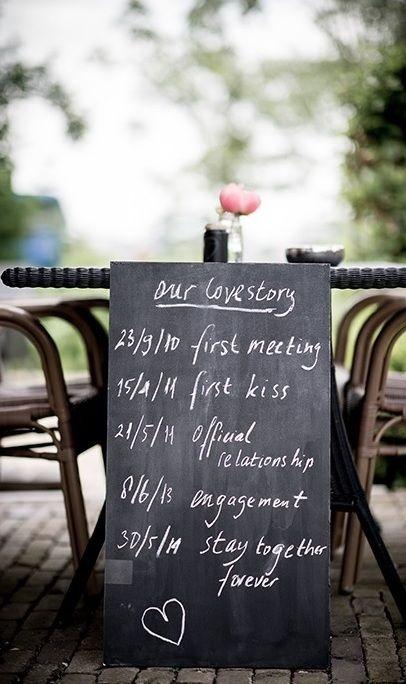Leuk idee, schrijf je lovestory op een krijtbord. www.steinsetuin.nl