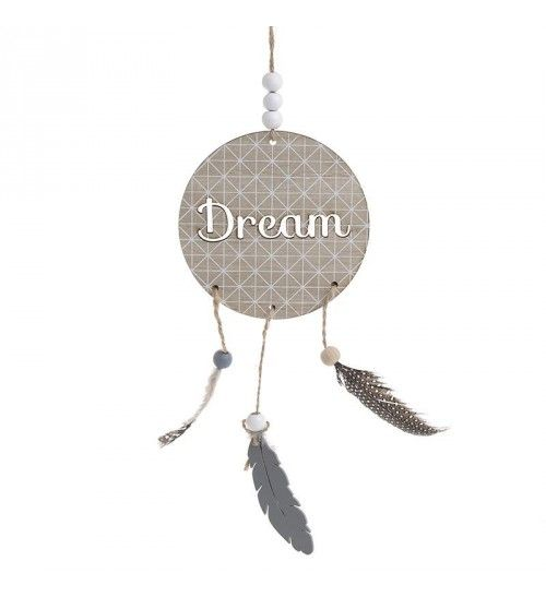 WOODEN DREAM CATCHER W_FEATHERS IN NATURAL 11X0_2X45