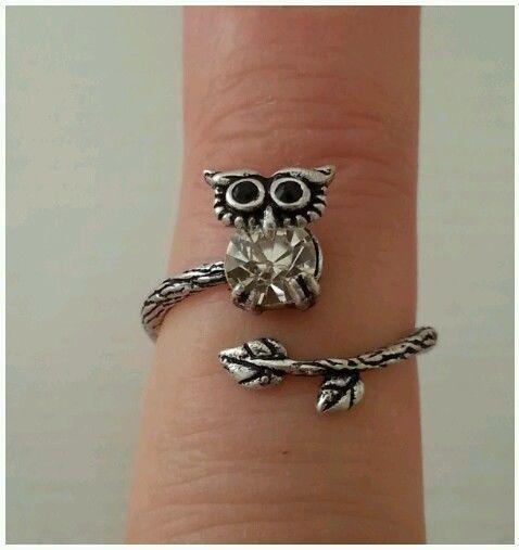 Antik Silber Eulen Ring Vintage 3D Offener Ring Größenverstellbar Niedlich Owl