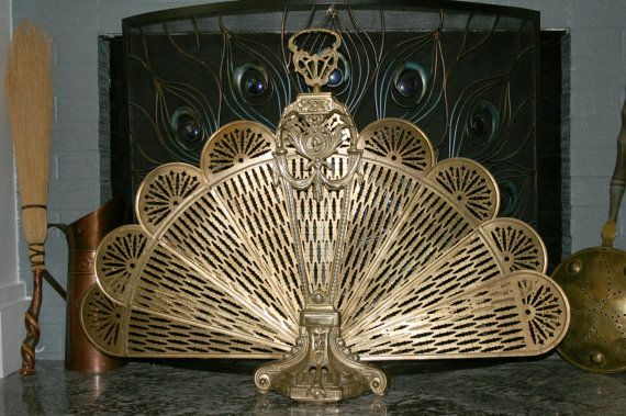 1900s Victorian Peacock Fireplace Screen//Summer by TresorsJeAmour