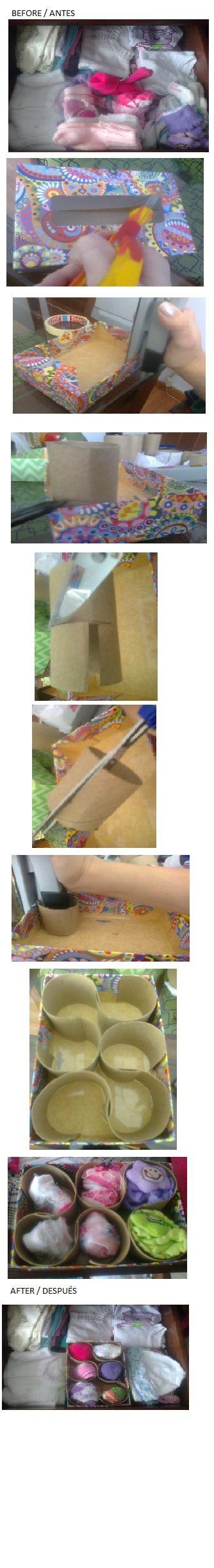 Socks Organizer / Organizador de medias usando cajas de pañuelos faciales y tubos de cartón. L.P.J.V.