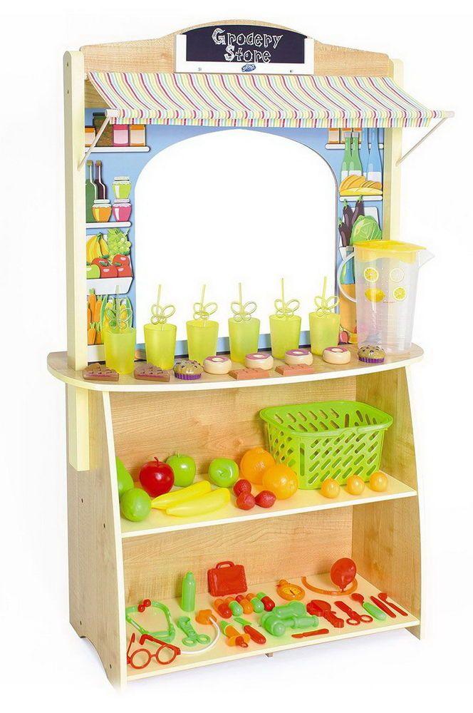 New Toy Kitchen Wooden Lemonade Stand Store Wood w/ 60 Plastic Accessories #JupiterWorkshops