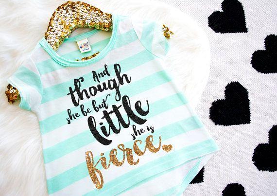 She Is Fierce Shirt Mint Gold Baby Shower Gift by HauteBelliesShop