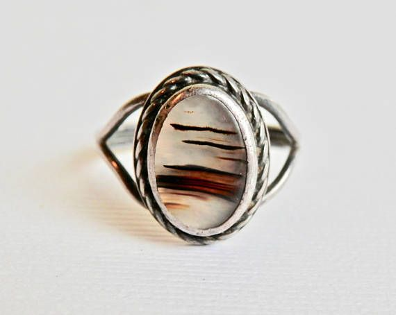 Large Sz 9 Moss Agate .925 Sterling Silver Ring Vintage Moss Agate Statement Ring,Bohemian Jewelry