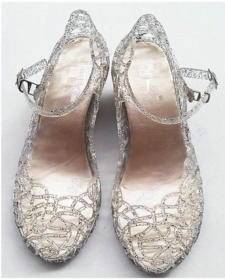 Women's Ladies Silver Glitter Princess Fancy Dress up Jelly Hollow Sandal Shoes #Unbranded #Hollow