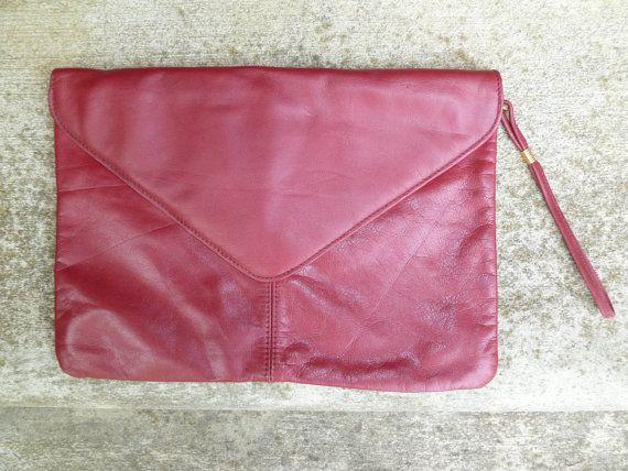 Burgundy purse dark red bag Mauve leather Clutch, Genuine Leather maroon oxblood wristlet clutch large leather clutch, large envelope clutch
