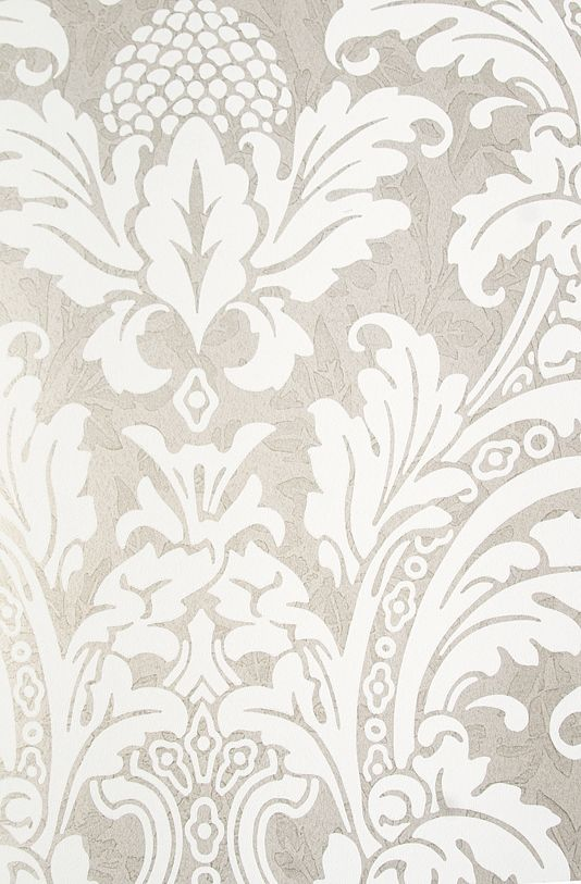 Blake Damask Wallpaper Metallic silver damask wallpaper with mottled pattern throughout and elegant white motif.
