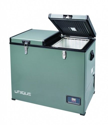 Unique Off Grid: solar AC/DC. 120L, separate fridge & freezer compartments. also a single compartment: 80L, and they make a 50L fridge. combining a couple of these might be the way to go...