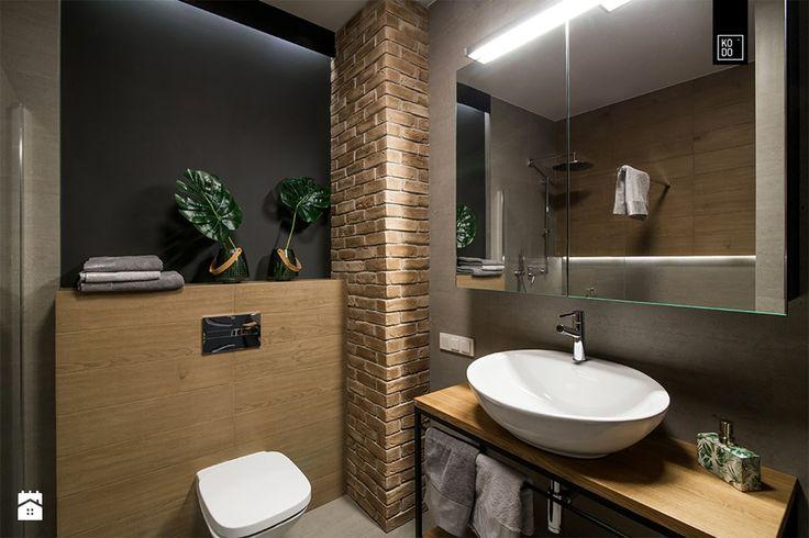 LIROWA - Mała łazienka na poddaszu w bloku w domu jednorodzinnym bez okna, styl industrialny - zdjęcie od PRACOWNIE WNĘTRZ KODO