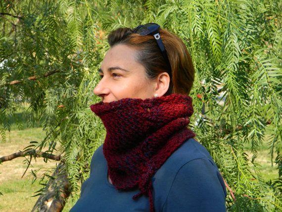 Burgundy cowl oxblod neckwarmer mesh pattern cowl by craftysou,