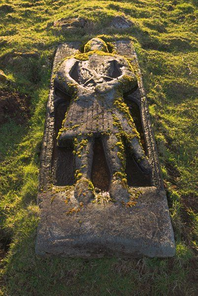 Stock photo of crusader grave at Skeabost on the Isle of Skye, Scotland. Part of the Britain Express Travel and Heritage Picture Library, Scotland collection.