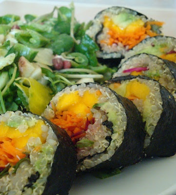 Quinoa Fruit Sushi with Watercress Salad | Vegan Ethnic Eats | Pinter ...
