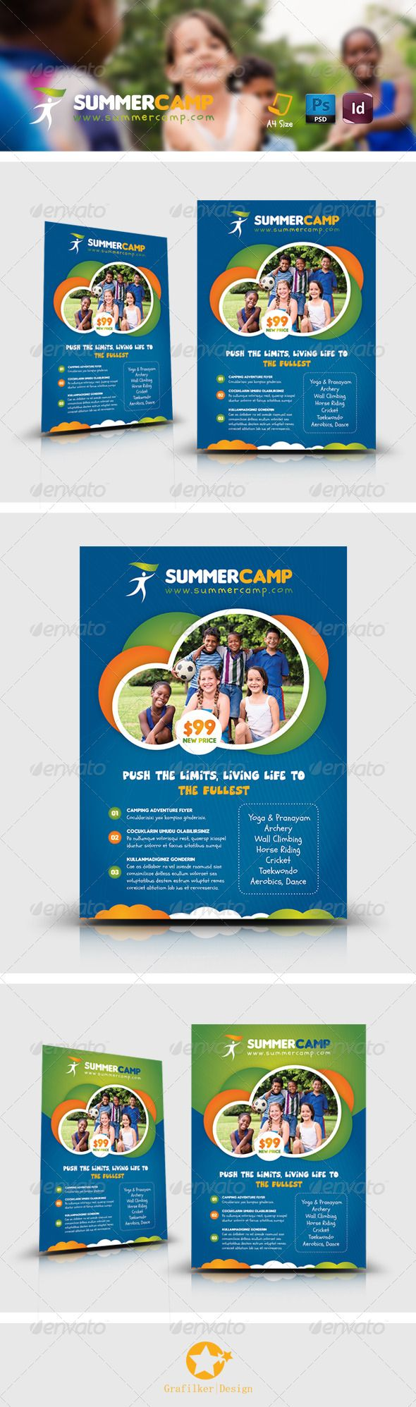 Summer Camp Flyer Templates, Rafting, adrenaline, adventure, atv, bambi jumping, camp, camping, child, climbing, excitement, grafilker, holiday, kayaking, kids, nature, parasailing, passion, racing, sand, sea, soccer, speed, sporting, student, summer, sun, surfing, tent, training, weekly