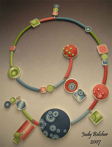 Necklace | Judy Belcher. Polymer clay and sterling silver.