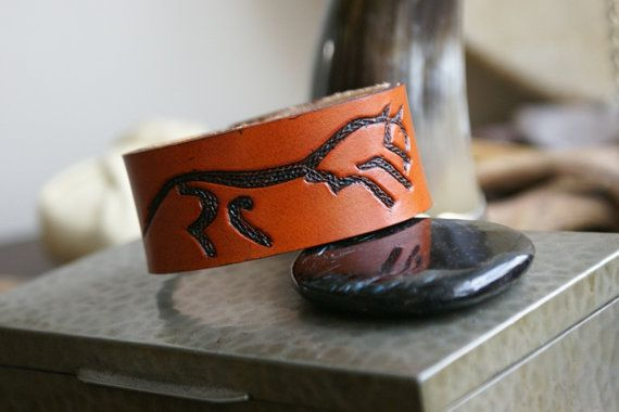 Leather Wristband- Celtic Horse Leather Wristband- Custom Leather Wristband-Leather Wristband-Uffington Chalk Horse- Leather Wristband.  $23