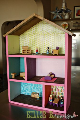 Simple 5 room dollhouse for 25 a how to kids bedroom tutorials pinterest christmas - Casa munecas eurekakids ...