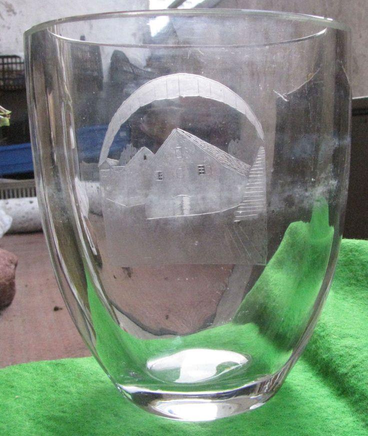 Sweden art pottery Glass Vase Varbergs Jastning Home Decor Vintage