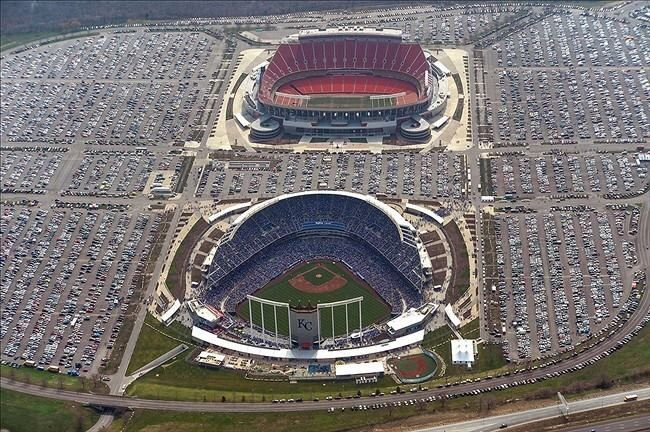 Kansas City Chiefs & Royals Stadium's from the sky......