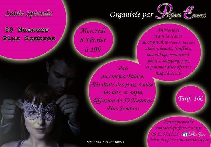 Soiree filles 50 nuances #plus sombres #Metz             8. #Februar 2017 - 19:00  / #Cinema #Le Palace5-7 #rue Fabert - 57000 #Metz #France  Vous l'attendiez avec impatience, #la voici ! #La #sortie #du #nouveau #Grey « 50 nuances #plus sombres » #est prevue #le mercredi 8 fevrier!!A cette occasion Perfect #Event vous a concocte une soiree bien girly http://saar.city/?p=40636