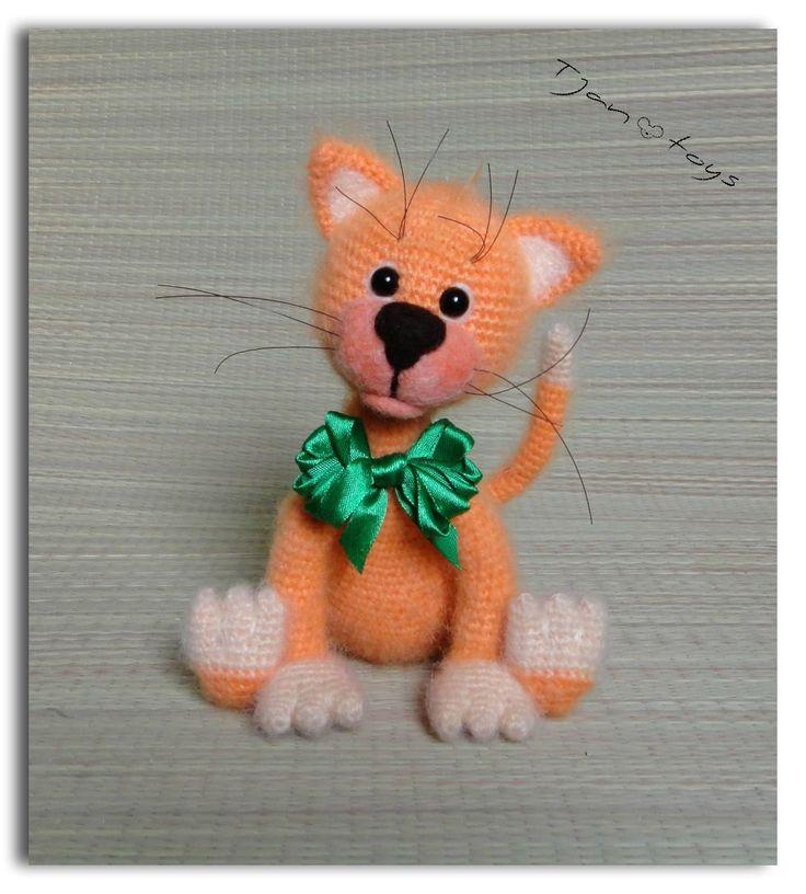 Ginger KITTEN OOAK Stuffed Animals Crochet Handmade Soft door Tjan