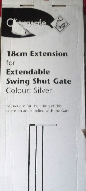 Silver Clippasafe 18cm Extendable Swing Shut Gate Extension Listing in the Stair Gates,Baby Stuff Category on eBid United Kingdom