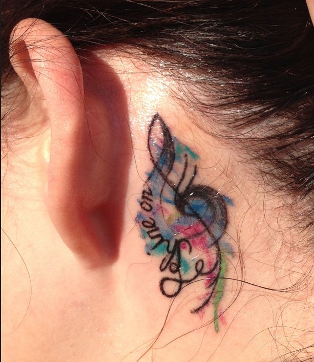 Music Note Tattoo Behind My Left Ear Pink Floyd Shine border=