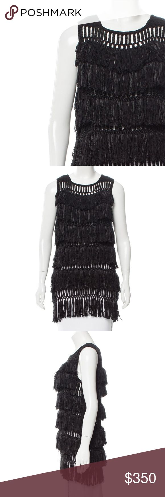 """⭐️ Maiyet Black Fringed Top Maiyet handmade sleeveless fringed top. Stand apart with this exceptional top!  54% Cellulose 13% Cashmere  13% Silk  35"""" Bust 34"""" Waist  30 1/2"""" Hips  Maiyet Black fringed Cashmere and Silk Top Maiyet Tops Blouses"""