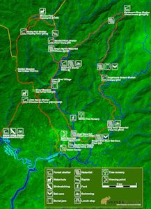 Trail map for trekking and cycling at Chi Phat