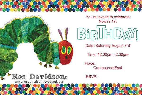 Hungry caterpillar invitation #stampinup #MDS #rosdavidson #hungrycaterpillar #invitation #firstbirthday