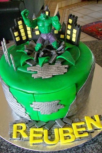 """The Incredible Hulk Cake"" Nate picked his birthday cake to celebrate 5th birthday!"
